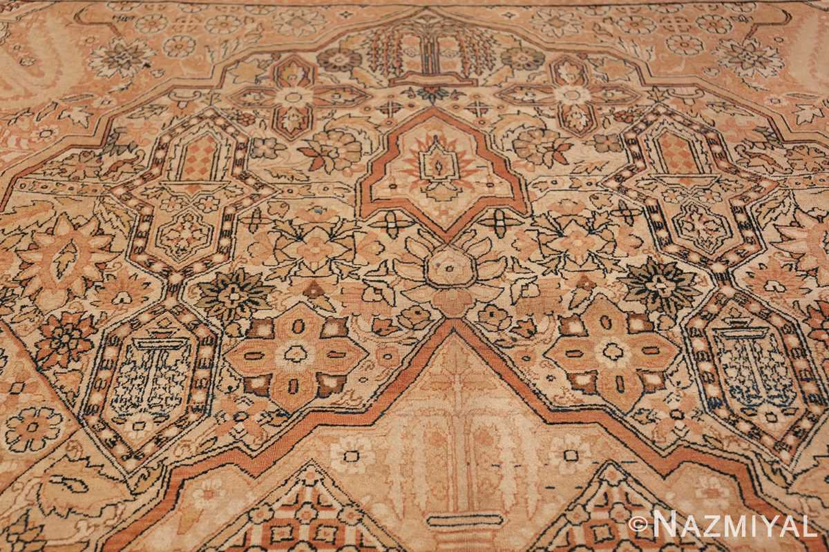 Antique Cream Color Persian Kerman Rug 42611 Inner Top Design Nazmiyal