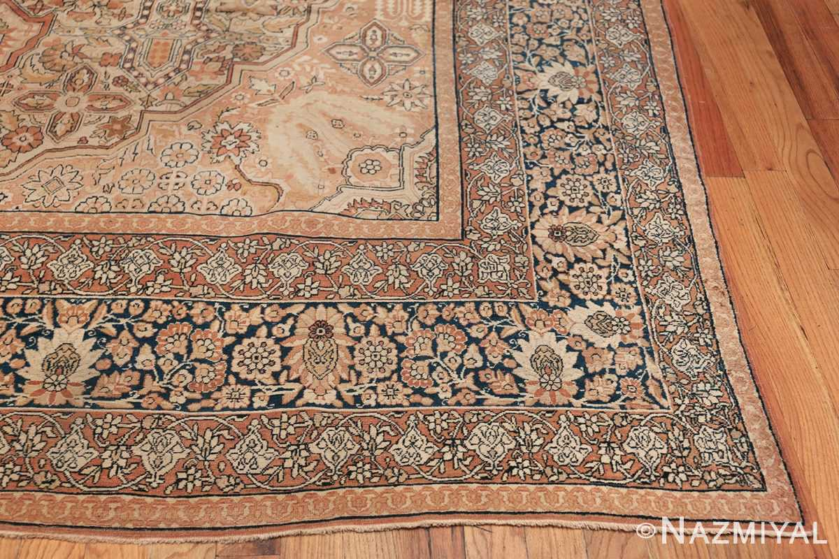Antique Cream Color Persian Kerman Rug 42611 Side Corner Nazmiyal
