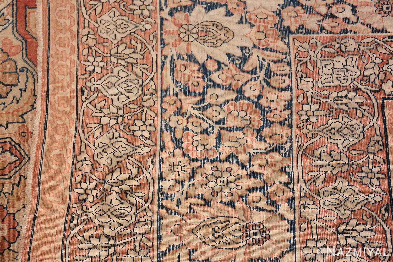 Antique Cream Color Persian Kerman Rug 42611 Woven Knots Nazmiyal