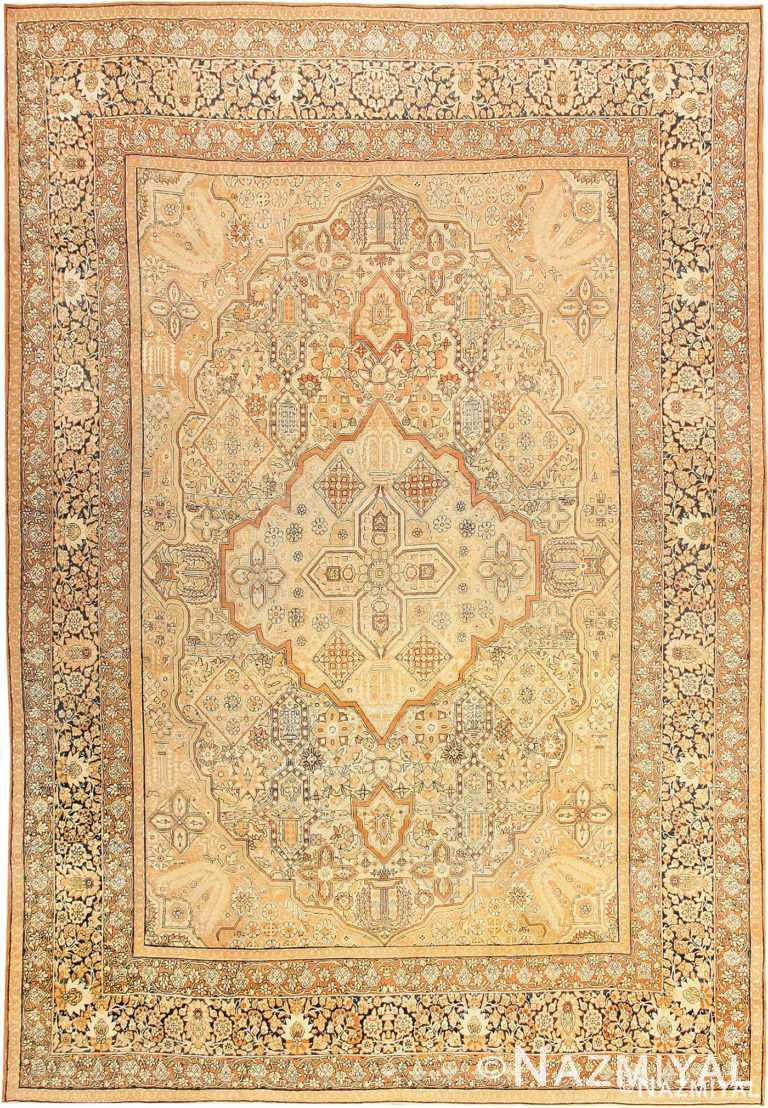 Antique Cream Color Persian Kerman Area Rug #42611 by Nazmiyal Antique Rugs