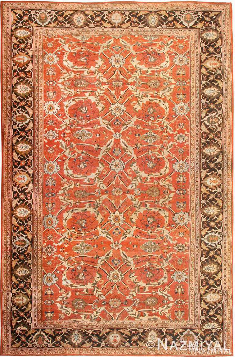 Large Oversized Antique Rust Color Persian Sultanabad Area Rug 42746 by Nazmiyal Antique Rugs