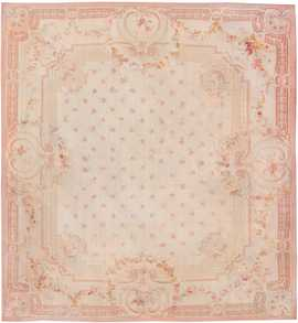 large antique square size french aubusson carpet 8515 Nazmiyal