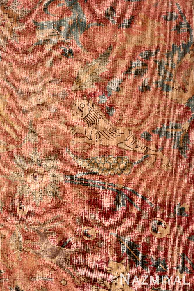 Animal detail Antique gallery size 17th Century Isfahan Persian rug 3338 by Nazmiyal