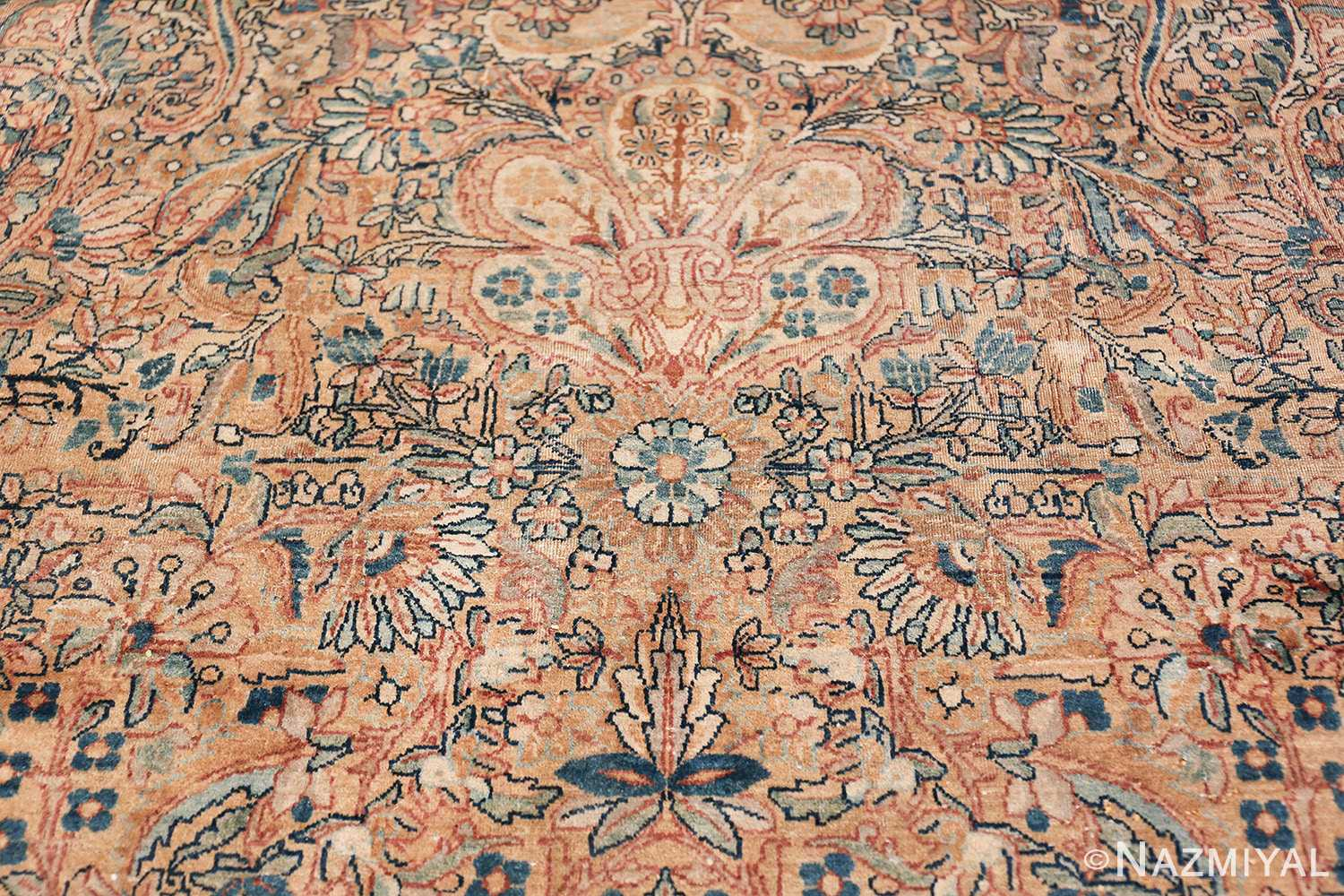 Antique Kerman Persian Rug 48986 White Blue Tiara Nazmiyal