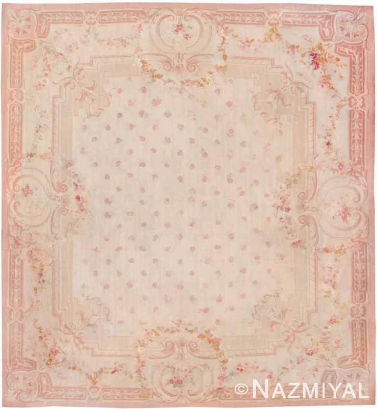 large antique square size french aubusson carpet 8515 Nazmiyal