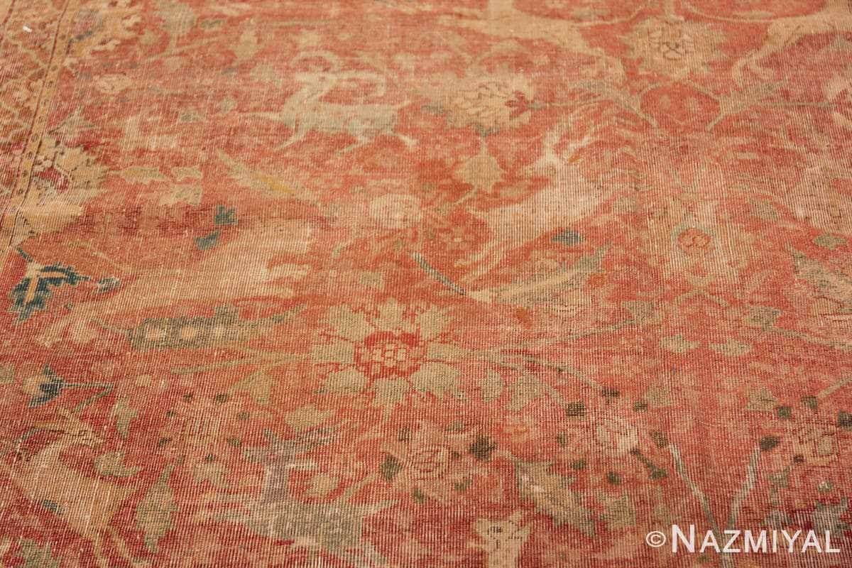 Background Antique gallery size 17th Century Isfahan Persian rug 3338 by Nazmiyal