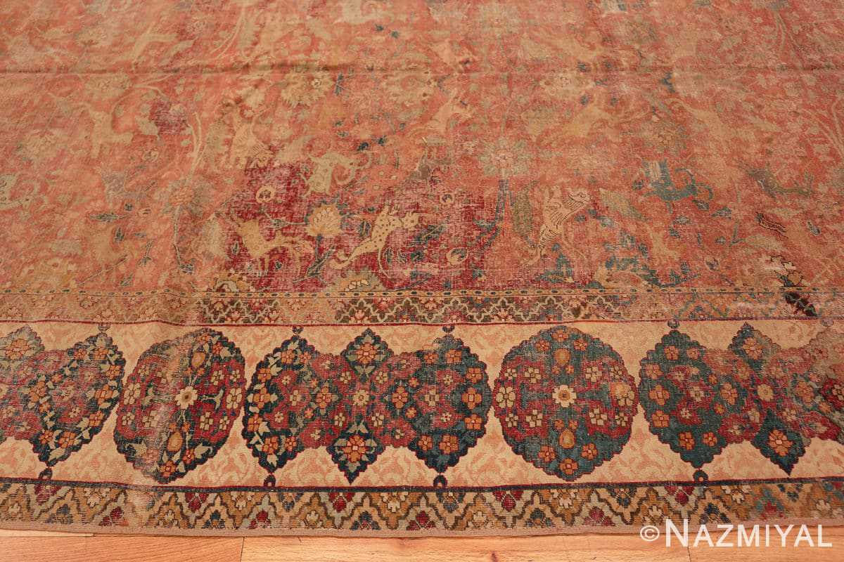Border Antique gallery size 17th Century Isfahan Persian rug 3338 by Nazmiyal