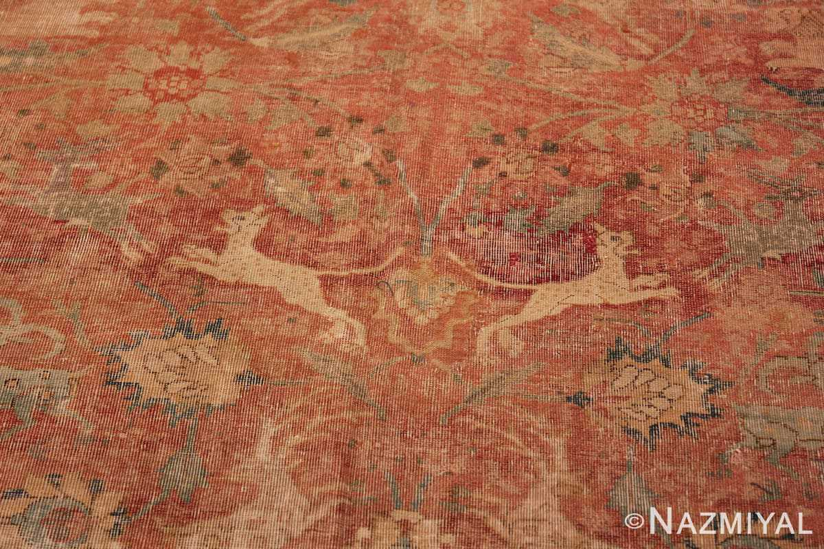 Close up Antique gallery size 17th Century Isfahan Persian rug 3338 by Nazmiyal