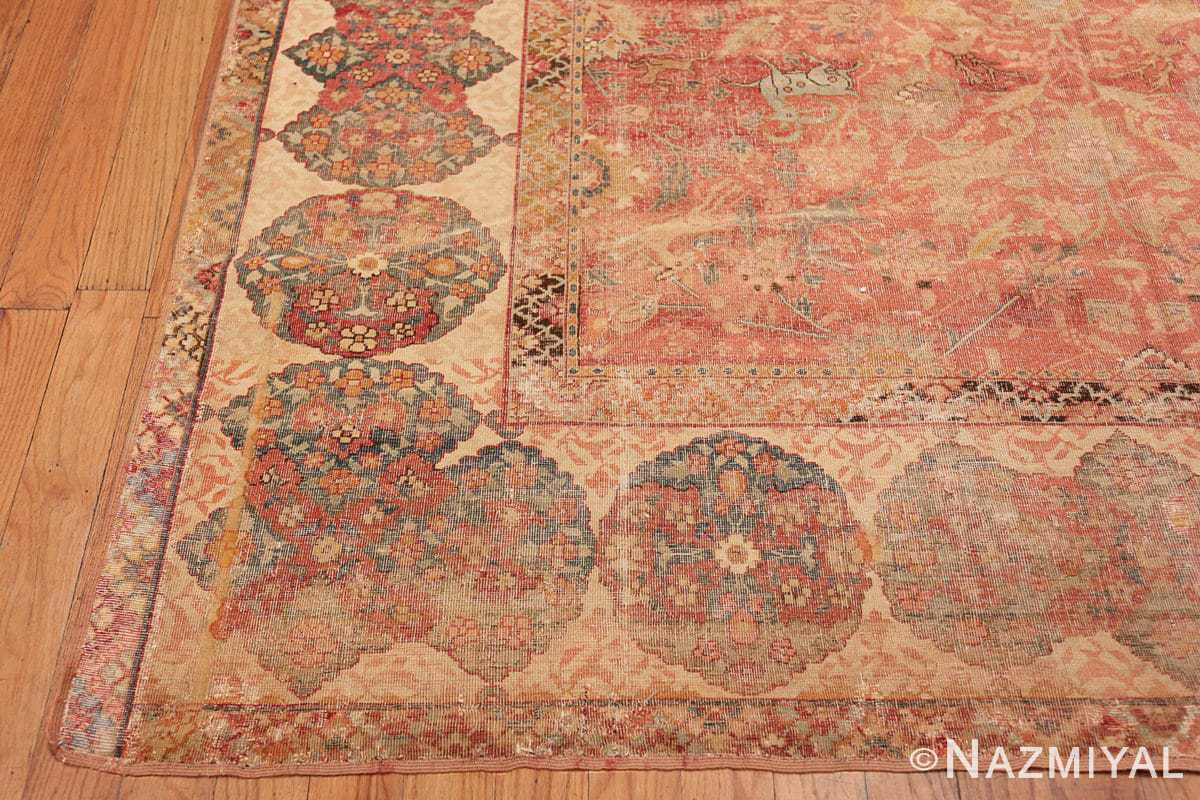 Corner Antique gallery size 17th Century Isfahan Persian rug 3338 by Nazmiyal