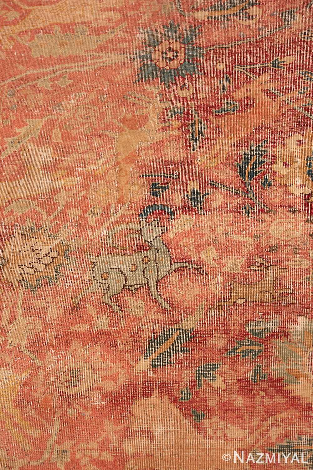 Deer Antique gallery size 17th Century Isfahan Persian rug 3338 by Nazmiyal