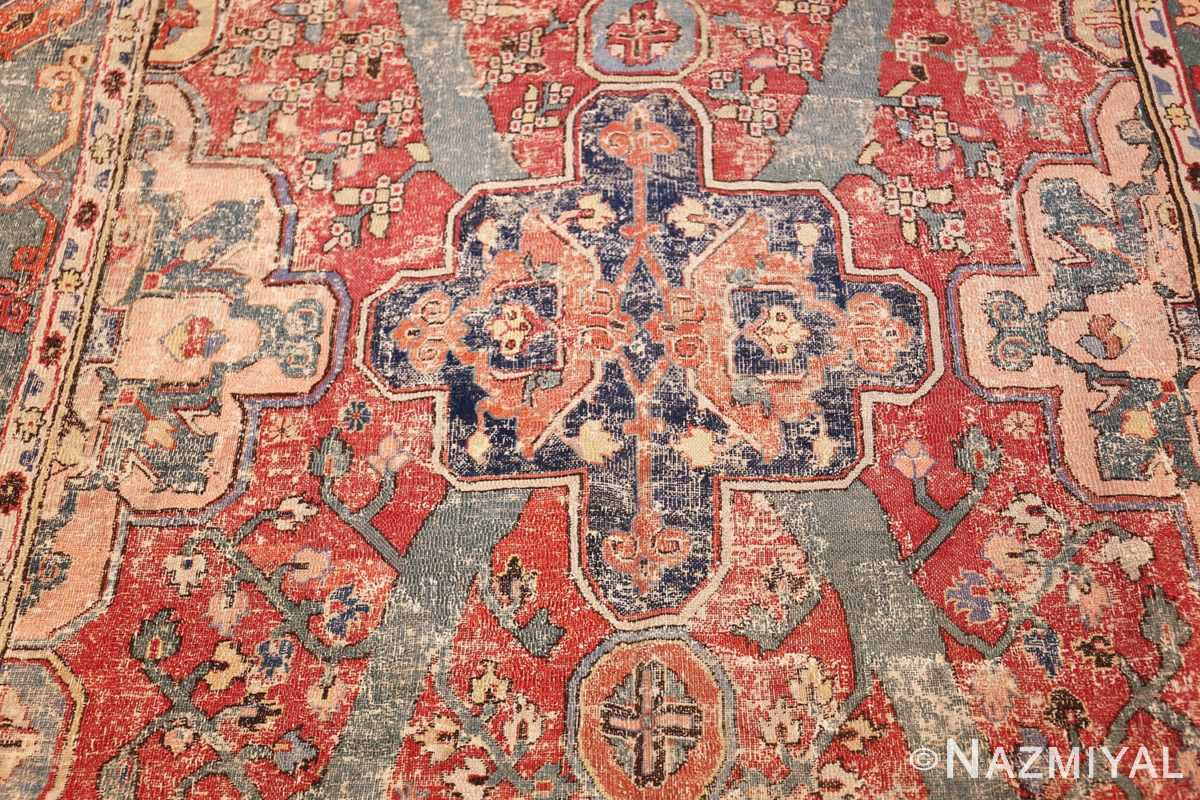 rare antique 17th century gallery size khorassan persian rug 3289 blue medallion Nazmiyal