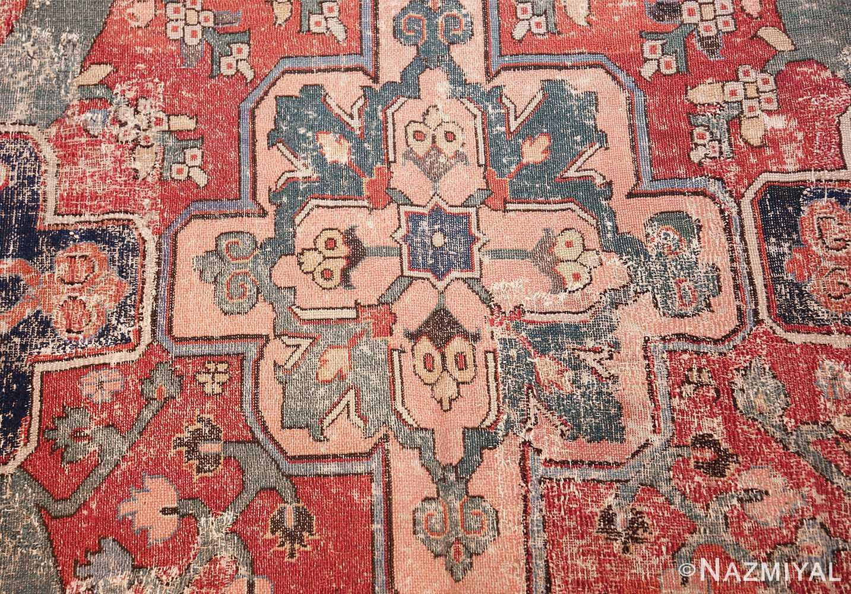 rare antique 17th century gallery size khorassan persian rug 3289 peach medallion Nazmiyal