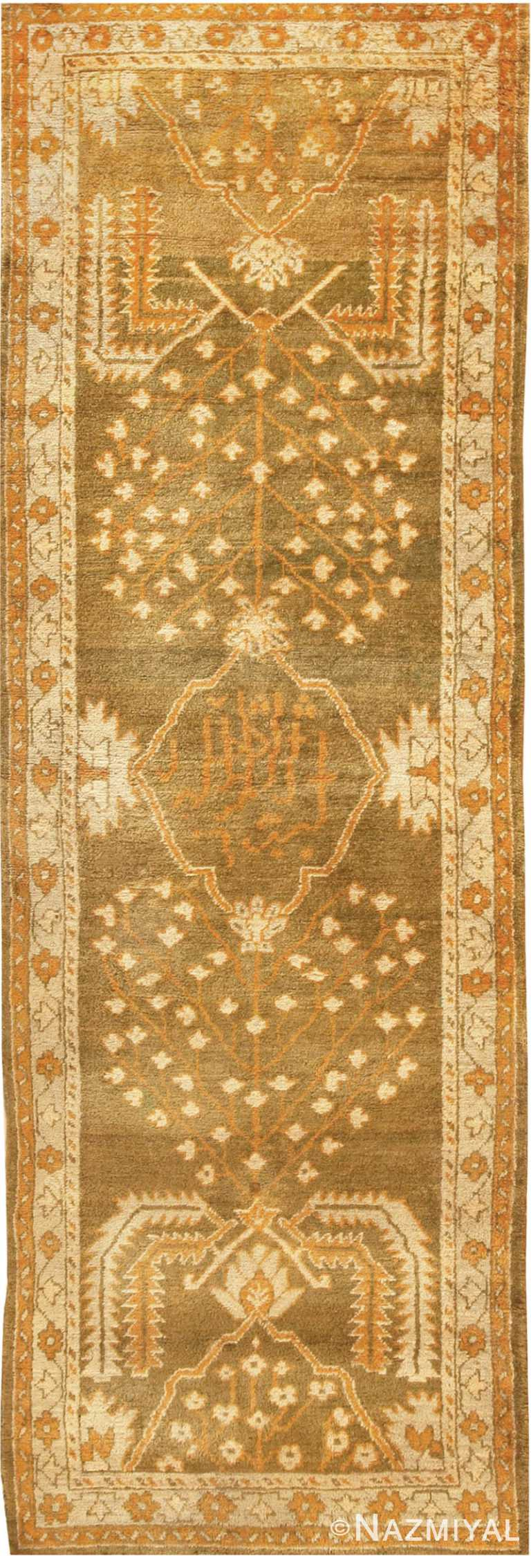 Antique Turkish Green Oushak Runner Rug #42997 by Nazmiyal Antique Rugs