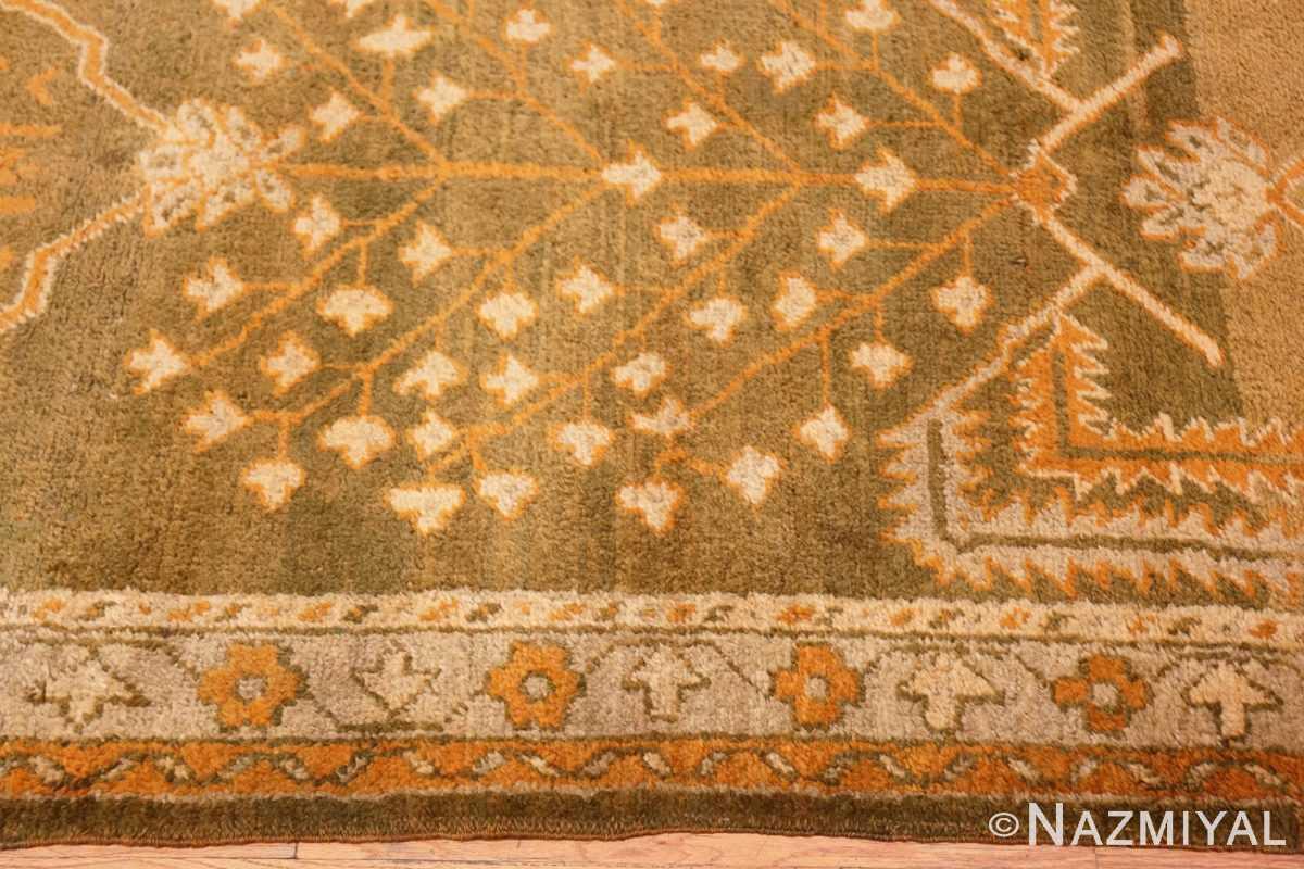Border Antique Turkish green Oushak runner rug 42997 by Nazmiyal