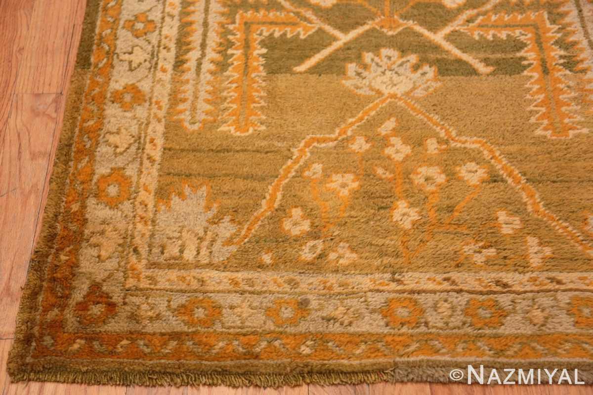 Corner Antique Turkish green Oushak runner rug 42997 by Nazmiyal