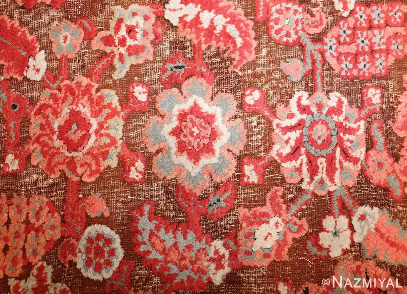antique indian agra rug 3398 flowers Nazmiyal