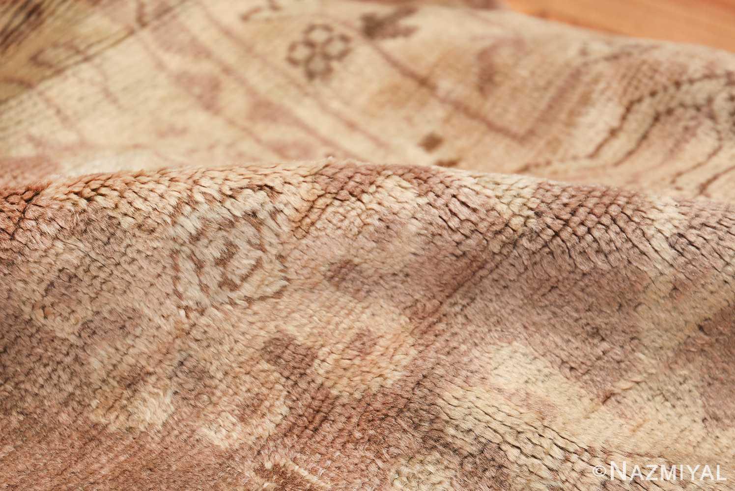 Decorative Room Size Antique Turkish Oushak Rug 42091 Shine Pile Nazmiyal