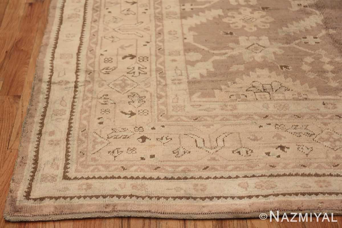 Decorative Room Size Antique Turkish Oushak Rug 42091 Side Corner Nazmiyal