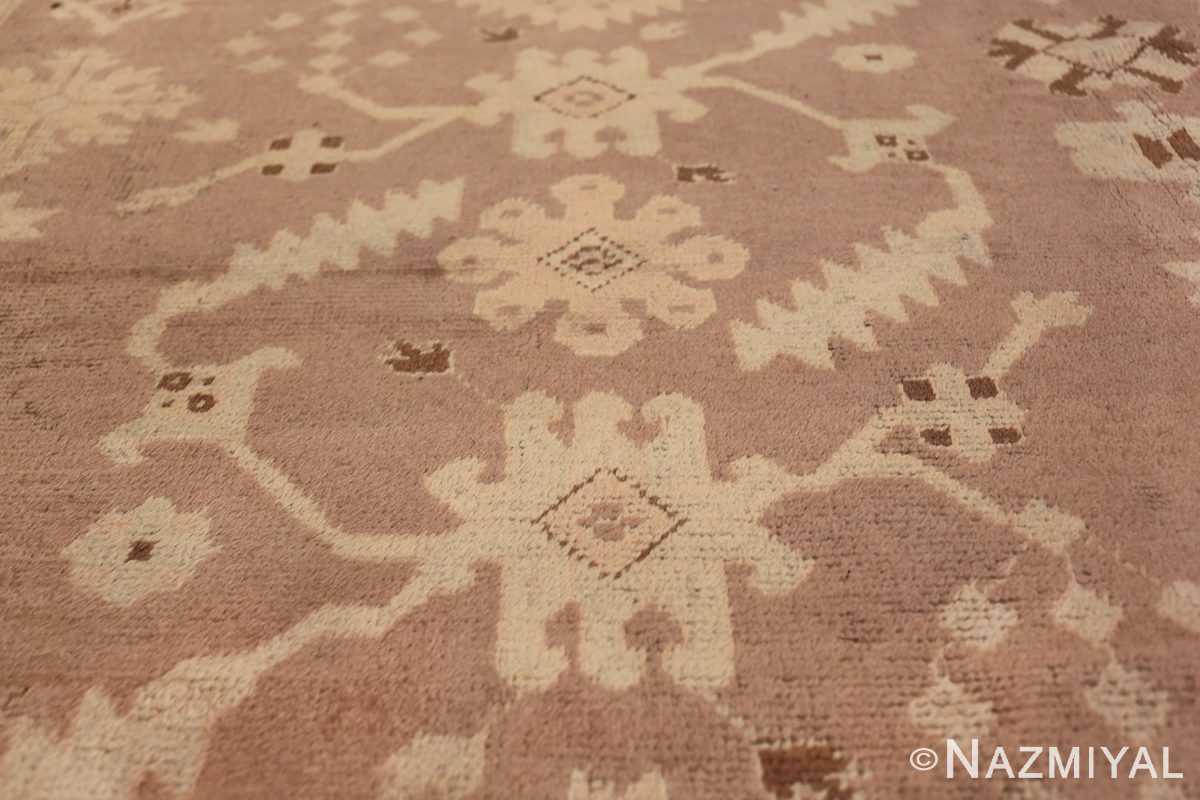 Decorative Room Size Antique Turkish Oushak Rug 42091 Three Green Flower Nazmiyal