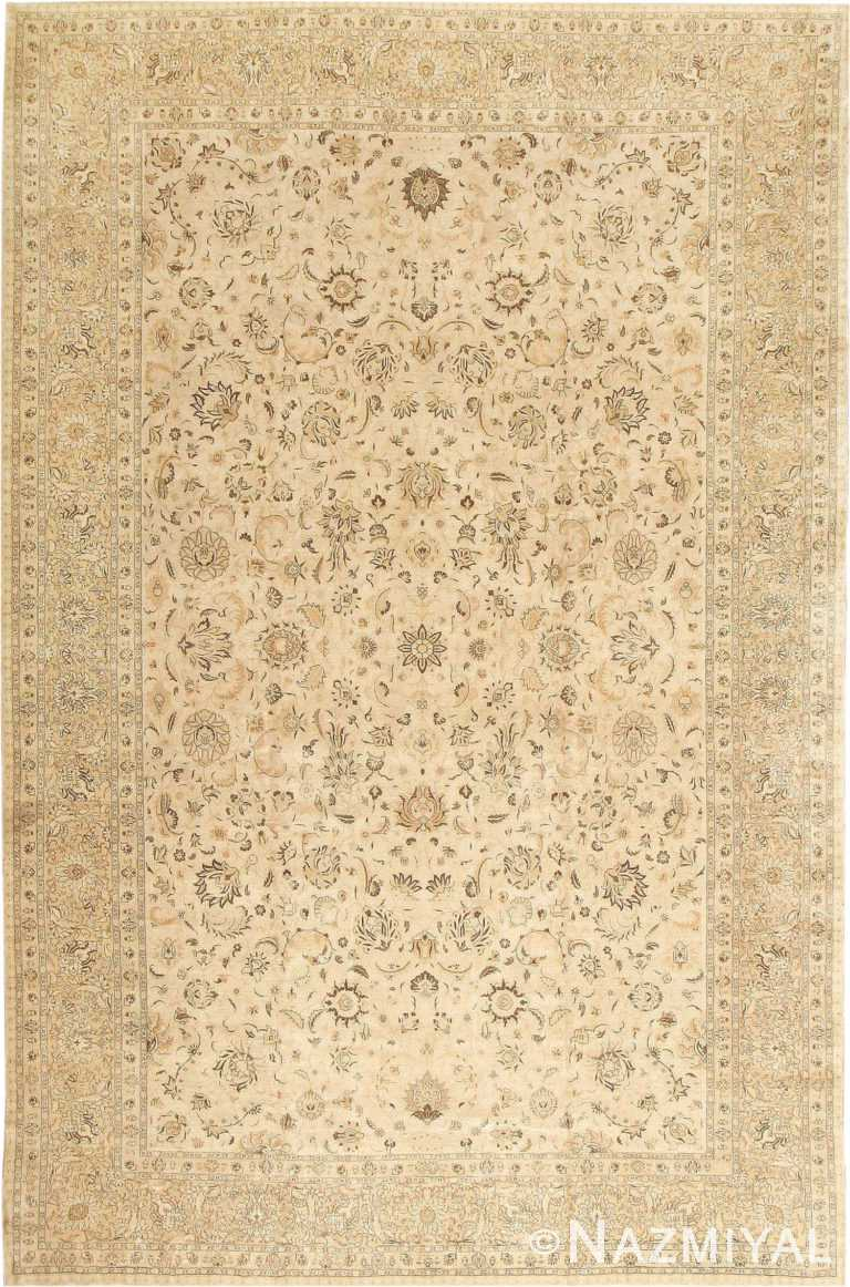 Large Soft Neutral Antique Persian Tabriz Area Rug #41516 by Nazmiyal Antique Rugs