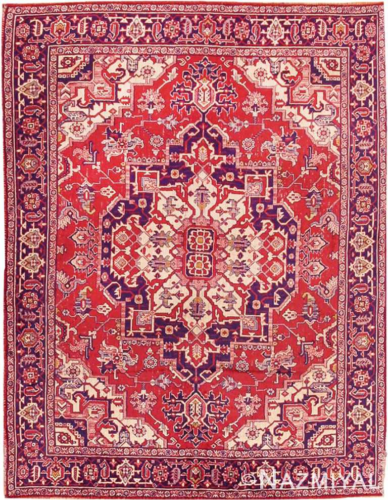Antique American Chenille Persian Heriz Design Rug #2685 by Nazmiyal Antique Rugs