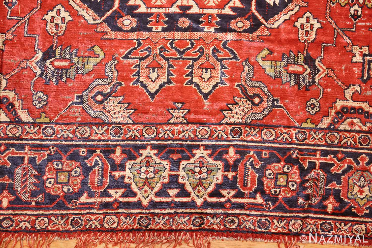 antique american chenille rug 2685 border Nazmiyal
