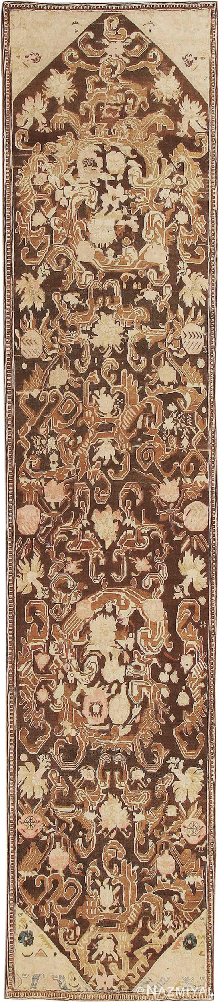 Antique Brown Caucasian Karabagh Hallway Runner Rug #1120 by Nazmiyal Antique Rugs