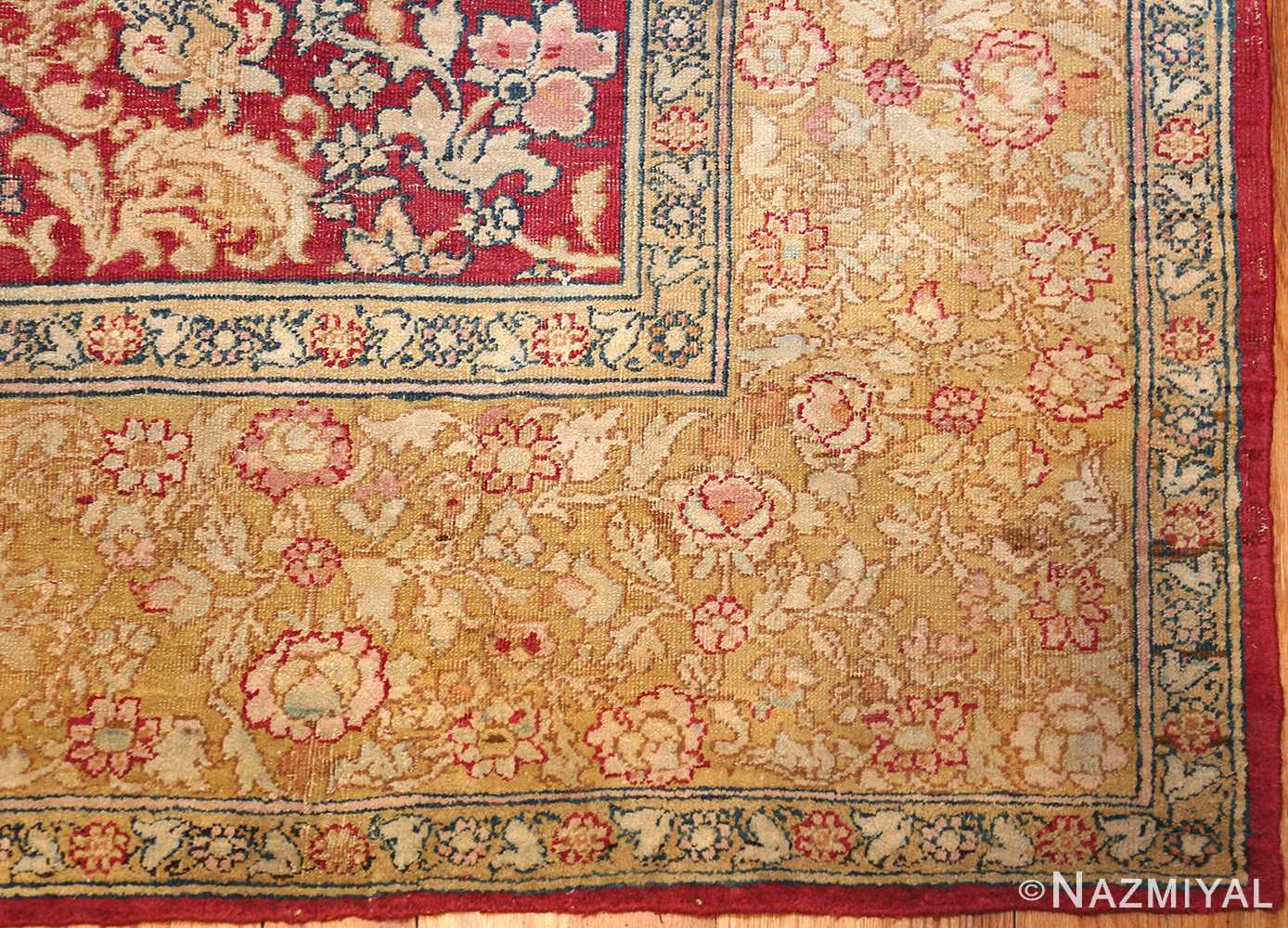 antique indian agra carpet 42109 corner Nazmiyal