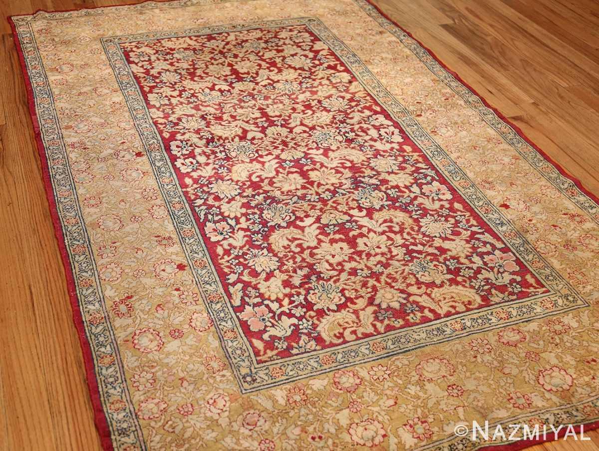 antique indian agra carpet 42109 side Nazmiyal