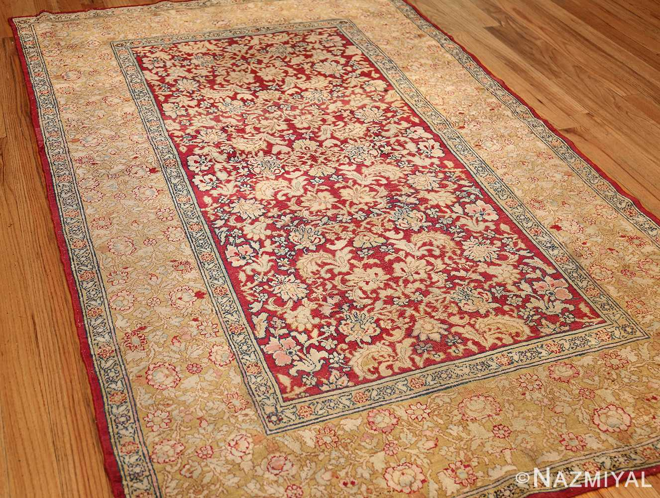 antique indian agra carpet 42109 side Nazmiyal