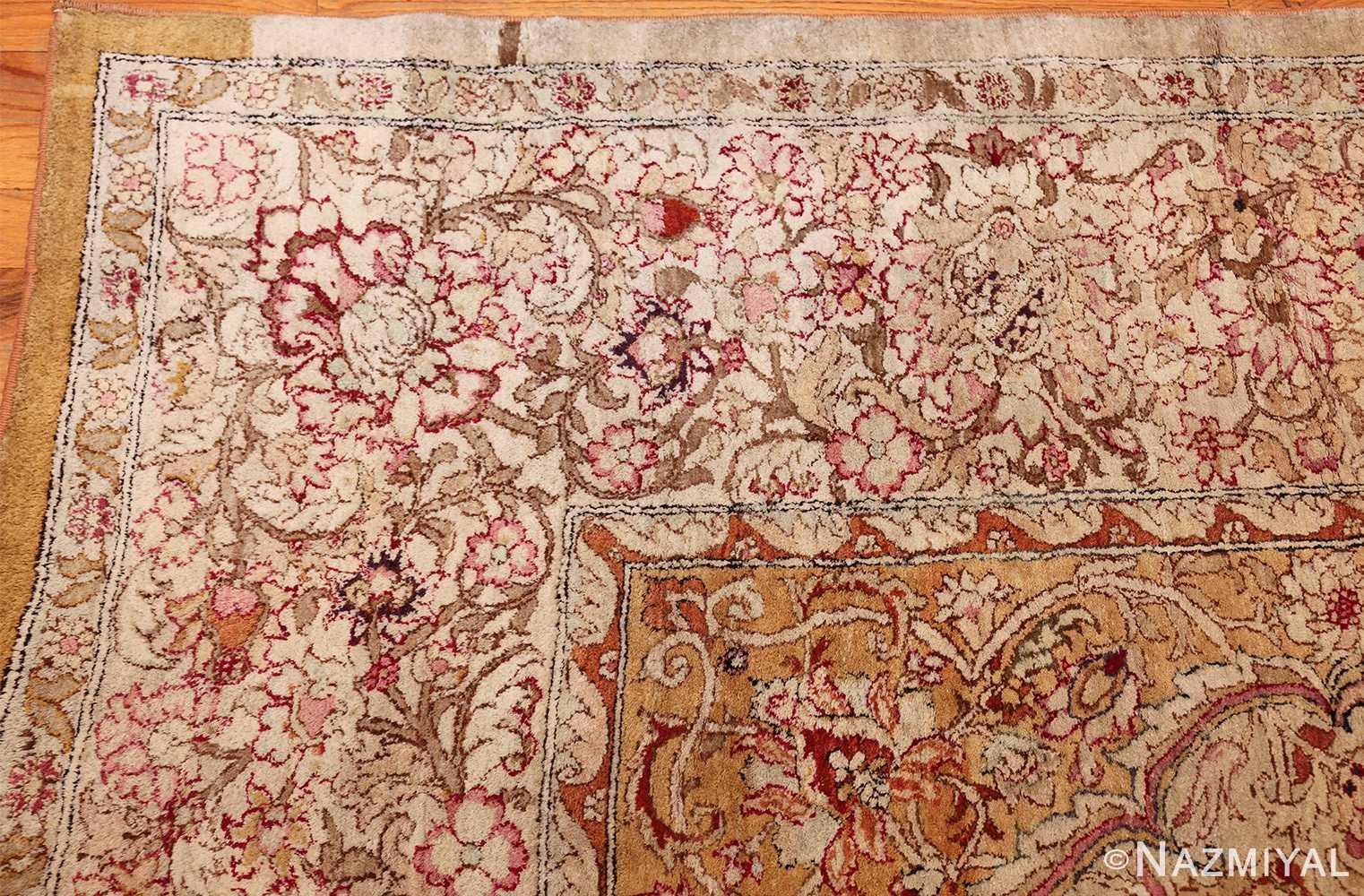 antique indian agra oriental rug 40535 corner Nazmiyal