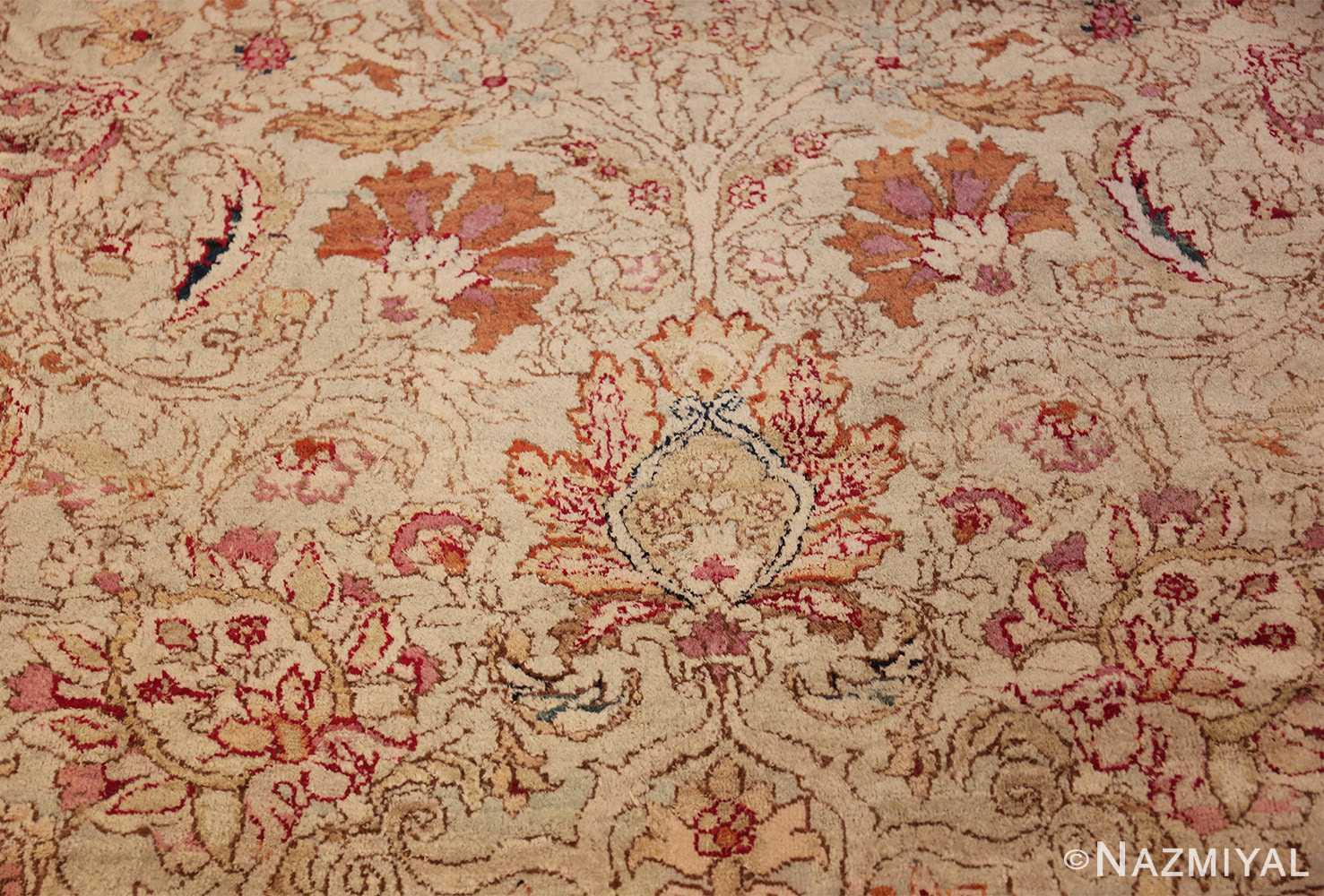antique indian agra oriental rug 40535 leaves Nazmiyal