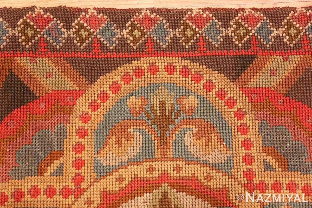antique needlepoint english rug 2633 border Nazmiyal