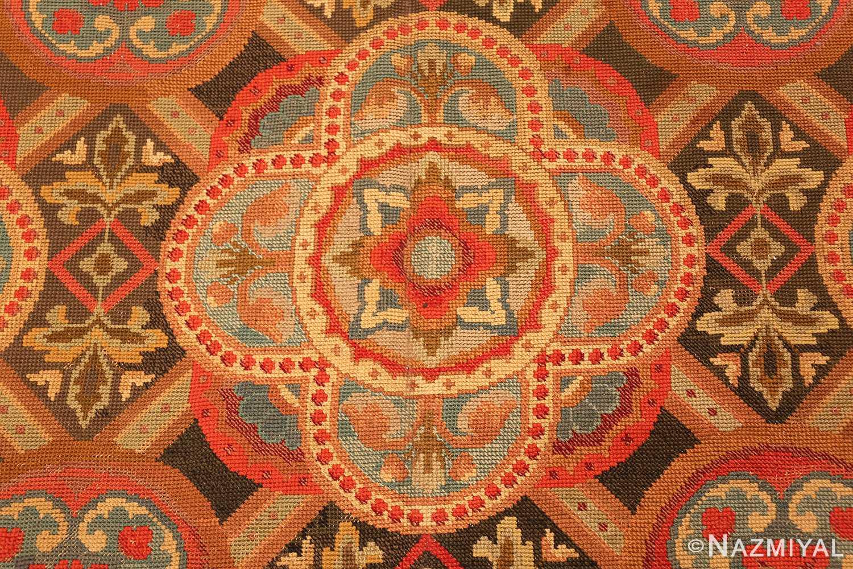 antique needlepoint english rug 2633 bouquet Nazmiyal