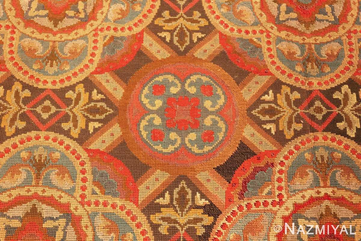 antique needlepoint english rug 2633 circle Nazmiyal
