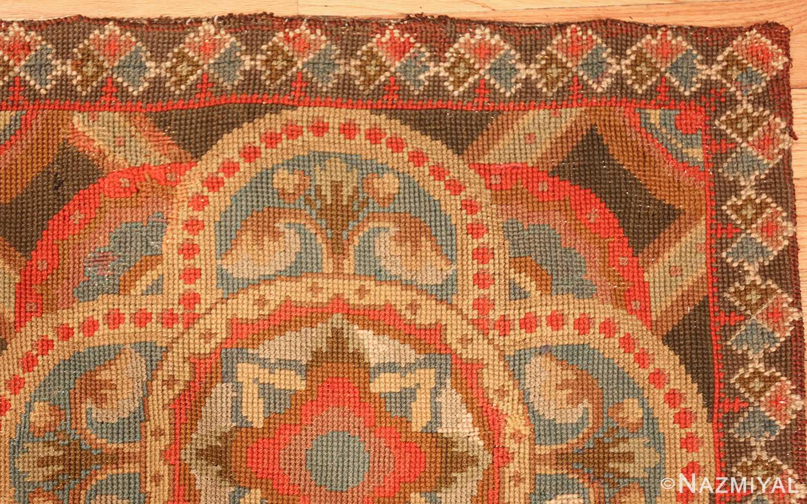 antique needlepoint english rug 2633 corner Nazmiyal