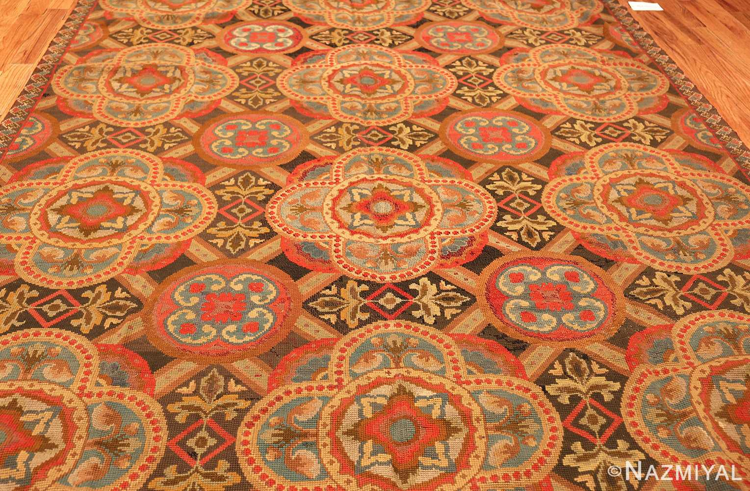 antique needlepoint english rug 2633 field Nazmiyal
