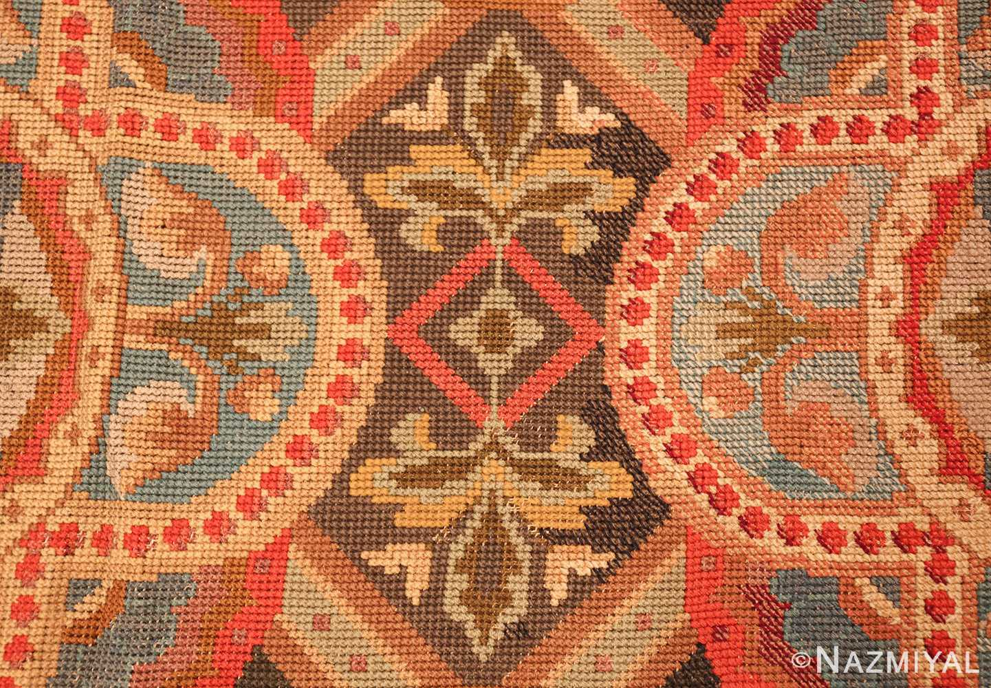 antique needlepoint english rug 2633 flower Nazmiyal