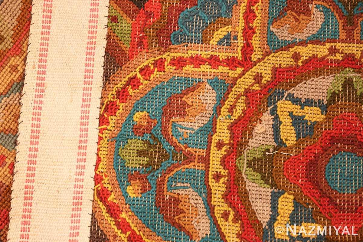 antique needlepoint english rug 2633 weave Nazmiyal