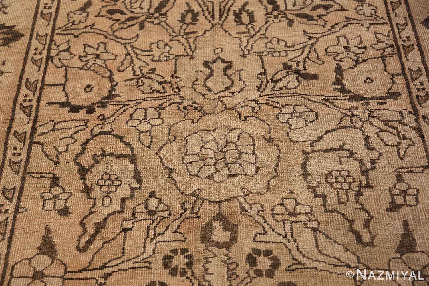 Antique Small Size Earth Tone Indian Amritsar Rug 41656 Big Central Rose Nazmiyal