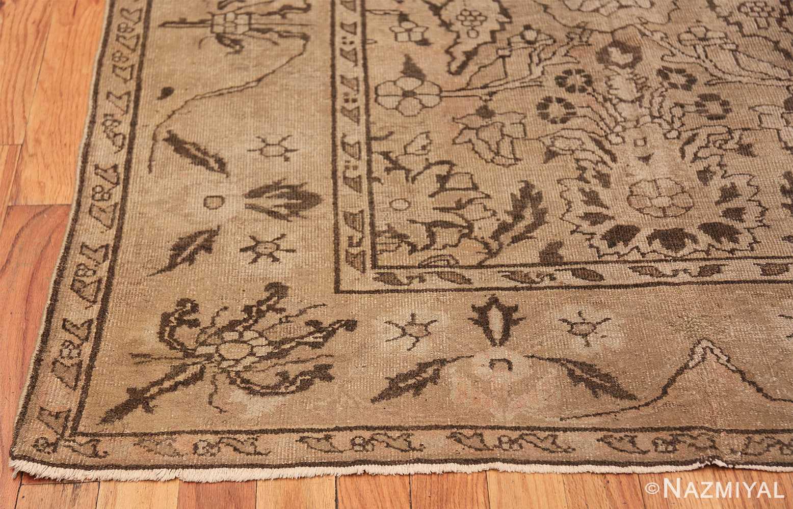 Antique Small Size Earth Tone Indian Amritsar Rug 41656 Side Corner Nazmiyal