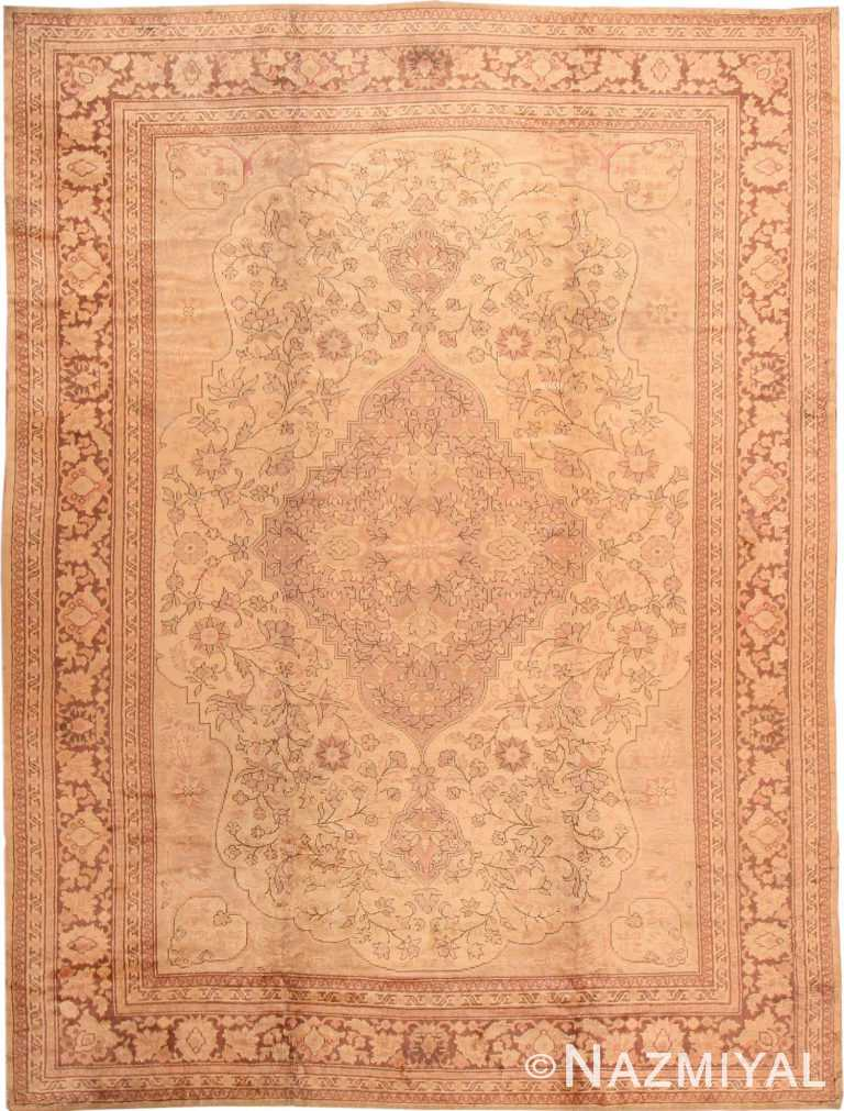 Floral Antique Turkish Oushak Area Rug #2675 by Nazmiyal Antique Rugs