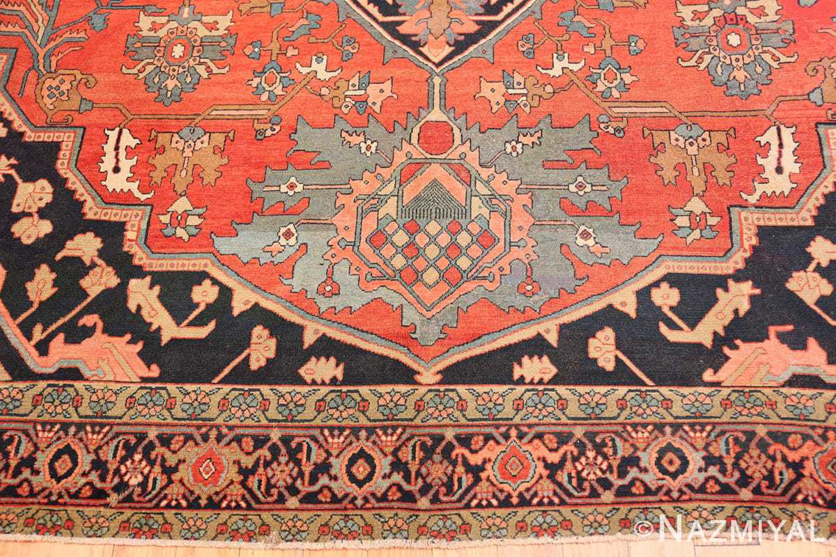 Border Fine room size Antique Persian Serapi rug 2570 by Nazmiyal