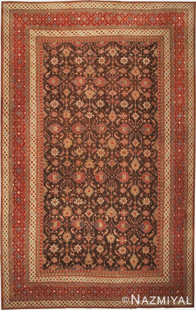 Brown Antique Oriental Oversized Indian Agra Area Rug 41340 by Nazmiyal Antique Rugs