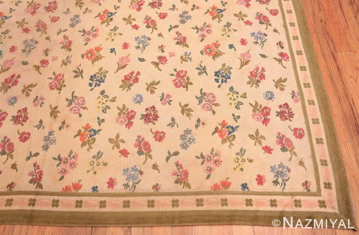 Corner Antique French savonnerie design chenille rug 3422 by Nazmiyal