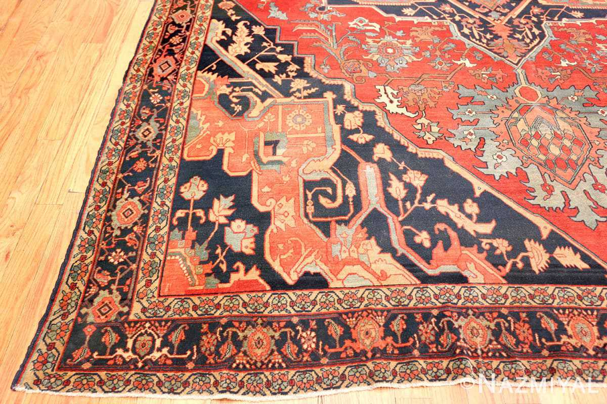 Corner Fine room size Antique Persian Serapi rug 2570 by Nazmiyal