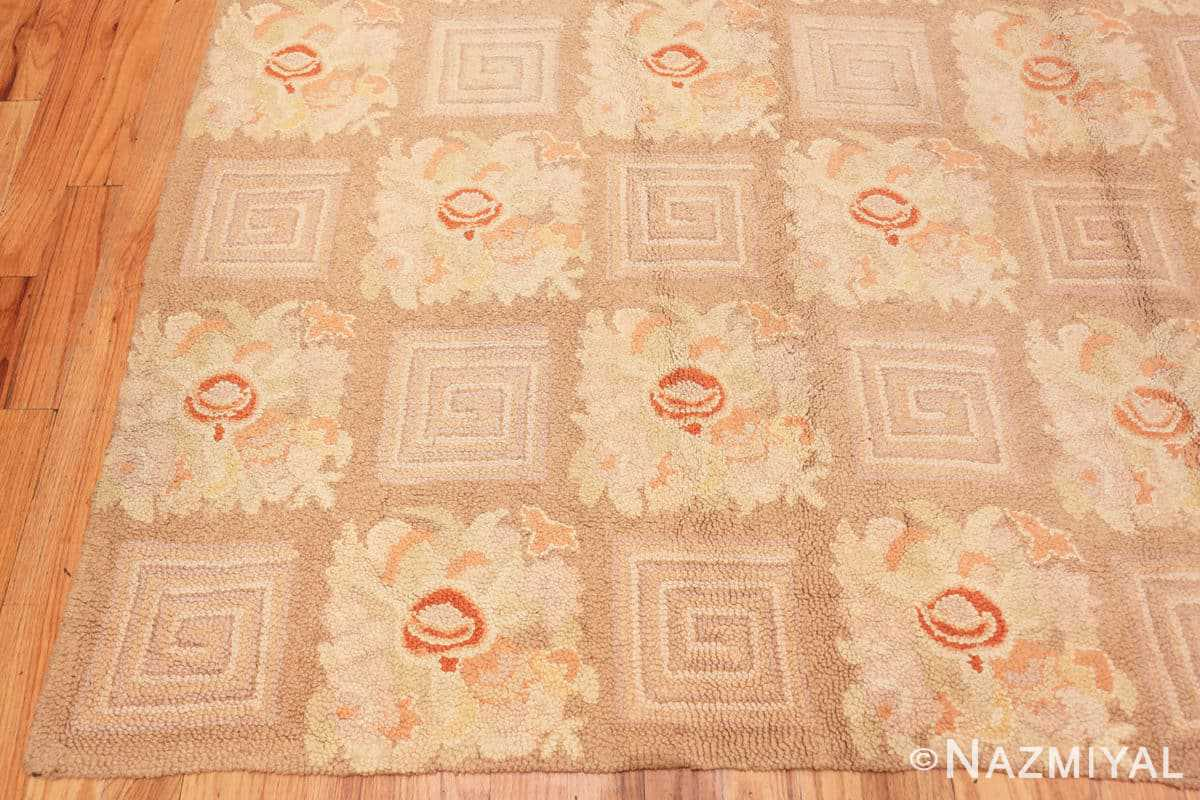 Corner floral pattern room size Antique American hooked rug 2142 by Nazmiyal