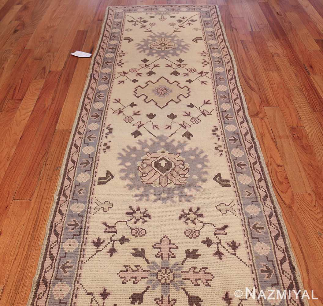 decorative antique turkish oushak runner rug 41776 field Nazmiyal
