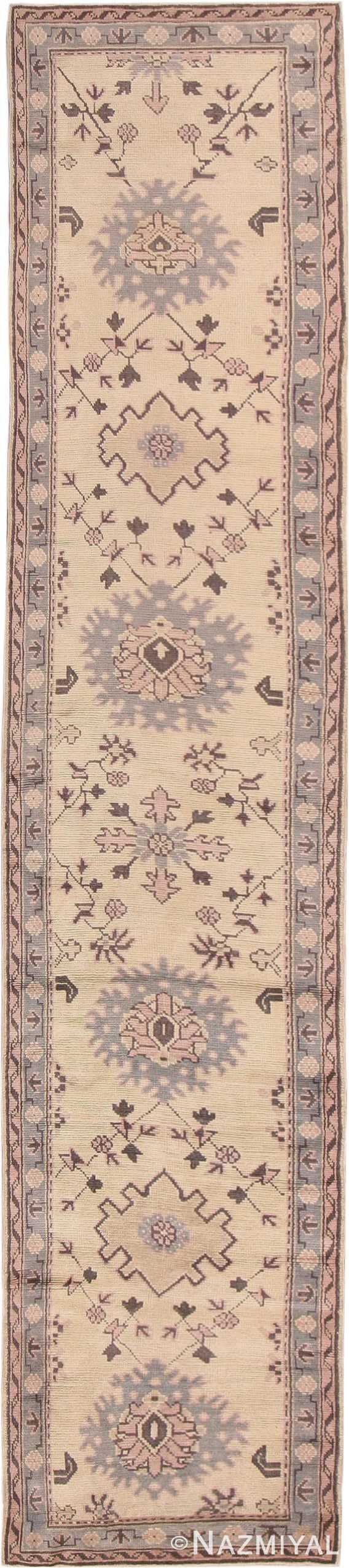 Decorative Antique Turkish Oushak Runner Rug #41776 by Nazmiyal Antique Rugs