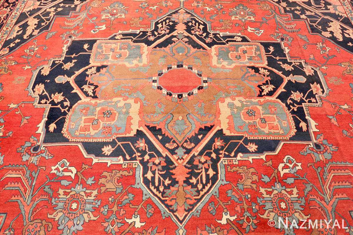 Field Fine room size Antique Persian Serapi rug 2570 by Nazmiyal